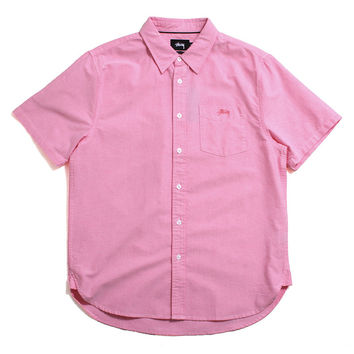 Classic Oxford Short Sleeve Button-Up Shirt Pink