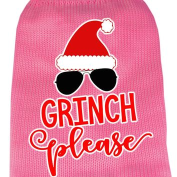 Grinch Please Screen Print Knit Pet Sweater Sm Pink Small