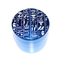 Ancient Egyptian Hieroglyphs Design Laser Etched Metal Herb Grinder - 4 piece herb grinder w/ FREE bag - Egyptian runes weed grinder