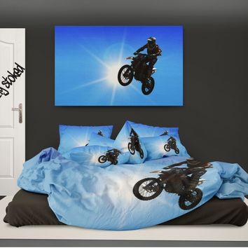"Motocross Comforter  ""YOUR CUSTOM PHOTO"" from Extremely Stoked Motocross Bedding collection"
