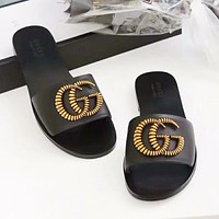 GUCCI New fashion letter leather high quality shoes slippers women Black