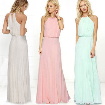 SIMPLE - Chiffon Everyday Wear Long Beach Halter Neck Sleeveless Casual Boho Dress b805