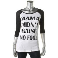 Pretty Rebellious Womens Juniors Printed Raglan Sleeves Casual Top