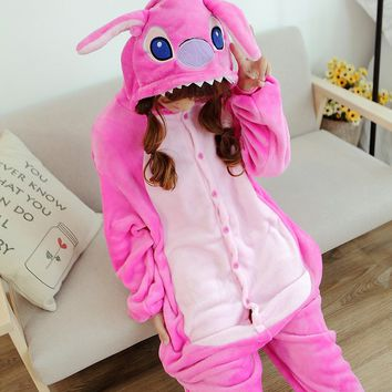 Lilo And Blue Pink Stitch Onesuit Pajamas Pyjama Adult Unisex Cosplay Animal Onesuits Kids Pajama Suit one piece femme