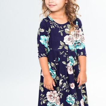 Toddler Navy Floral Fall Dress