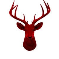 Faux Deer Head - The XL Bowen - Faux Taxidermy -Valentines Decorations - Red Resin Deer Head- Red Deer Antlers Mounted- Faux Head Wall Mount