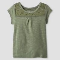 Toddler Girls' Short Sleeve Eyelet Solid T-Shirt - Cat & Jack™