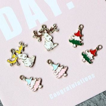 ac spbest 10pcs/pack Lucky Christmas Tree Deer  Enamel Charms Metal Pendant fit Necklace bracelet  Jewelry Component  Accessory DIY Craft