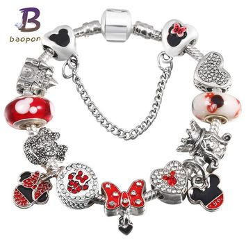 BAOPON Children'S Fashion Jewelry Mickey Crystal Pandora Bracelet For Women Charm Bracelets Bangles Handmade Jewelry Pulseras