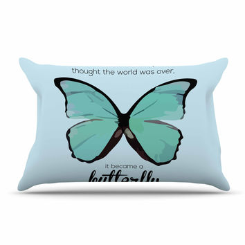 "NL Designs ""Blue Butterfly"" Blue Quote Pillow Case"