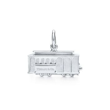 Tiffany & Co. -  Cable Car charm with a diamond in sterling silver.