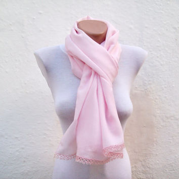 Handmade Traditional Turkish Fabric Scarf-Crochet Oya-pink-rectangle