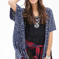 FOREVER 21 Fringed Open-Front Cardigan Navy/Cream