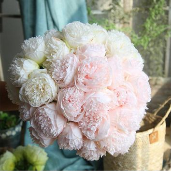 Artificial Flower Peony Bridal Bouquet Fake Flower for Christmas Wedding Party Home Decorative Silk Peony Autumn Flower