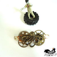 Kraken Steam Punk Barrette Punk Style Goth Girl Hair Jewelry Jules Verne Victorian Gears Brass Wheels Three Inch  Barrette