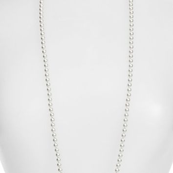 Women's Nadri Faux Pearl Long Necklace - Rhodium