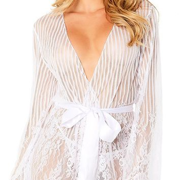 Sexy Brightburn Eyelash Lace Stripe and Floral Robe and G-String