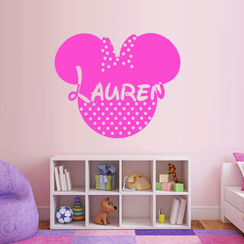 Wall Decal Vinyl Sticker Decals Art Decor Disney Custom Baby Name Head Mice Ears Mickey Minnie Mouse Gift Kid Children Nursery (m1317)