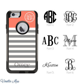 iPhone 6 Otterbox Commuter Case Monogrammed Striped Custom Color Initials Personalized Cell Phone Case Protective Plastic Hard Cover 1129