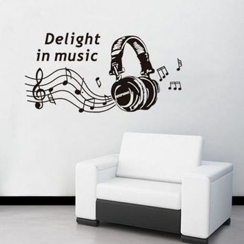 Notes headphones music wall sticker decoration nursery wall sticker home decor