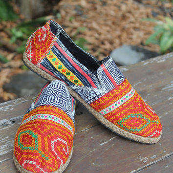 Mens Shoes in Orange Ethnic Hmong Embroidery and Indigo Batik Vegan Loafer  US 9.5
