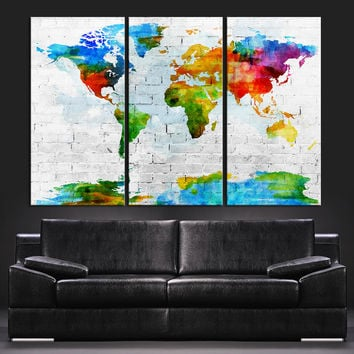 Pastel Colors Watercolor World Map Canvas Art Print - Contemporary 3 Panel Triptych Colorful Abstract Rainbow Colors Large Wall Art - 534723167
