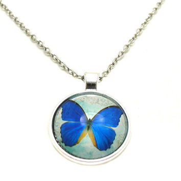 Butterfly Necklace, Picture Necklace, Blue Butterfly Charm, Monarch Butterfly Necklace, Blue Butterfly Photo Necklace, Butterfly Jewelry
