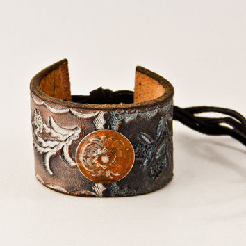 Leather Cuff Hand Tooled, Woodland, Spring, Eco Friendly, Boho, Gypsy, Upcycled, Jewelry