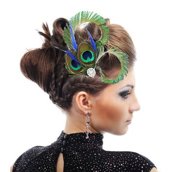 Vintage Peacock Feather Hair Fascinator