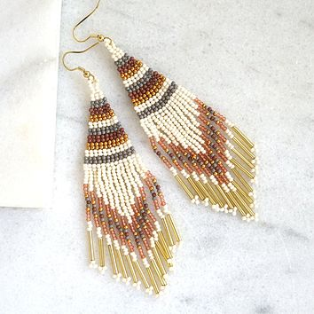 Beaded Fringe Earrings - White
