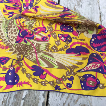 Square Silk Scarf . Vintage Belloth Scarf . Abstract Flower and Bird Print Scarf .