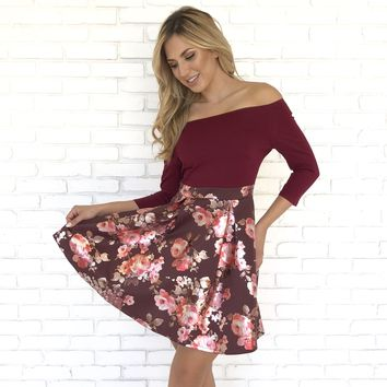 Winter Wonderland Floral Burgundy Dress