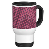 Black and Pink Houndstooth Print Coffee Mug