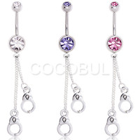316L Surgical Steel Double Gem Handcuff Chain Dangle Belly Button Navel Ring