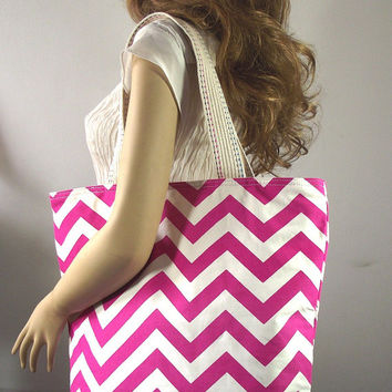 Pink Chevron Diaper Bag with Leather key Clip Holder - Chevron Travel Bag Weekender Bag School Bag Fashion Women Bags