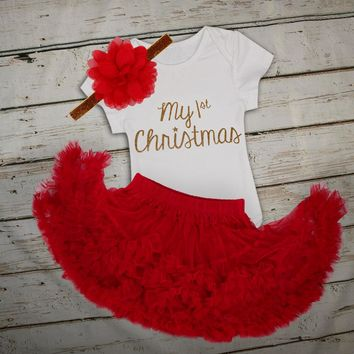 baby rompers 2017 Infant baby Clothing set newborn baby clothes boutiques girls Christmas Outfit Romper with Skirt Headband