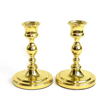 "Brass Candlesticks 5"" (Set of 2) – Beautiful Shiny Gold Tone Metal, Classic Wedding Elegance Centerpiece – Vintage Home or Holiday Decor"