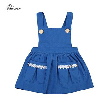 Newborn Baby Girls Clothes Dress Denim Sleeveless Kids Party Tutu Sleeveless Cute Princess Dresses Casual Girl