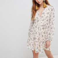 Glamorous Mini Wrap Dress With Tie Waist In Floral at asos.com