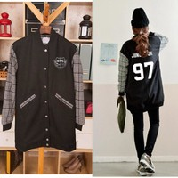 BTS  jungkook bulletproof clothes long coat should wear baseball autumn A.R.M.Y baseball hoodie exo jacket kpop