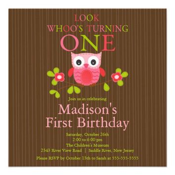 Cute Modern Owl 1st Birthday Party Invitations from Zazzle.com