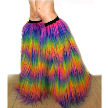 Rainbow Fluffies Furry Leg Warmers Fuzzy Rave Boots Covers