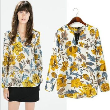 Autumn V-neck Floral Pullover Shirt Tops Blouse [6048478209]