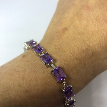 Handmade Genuine Purple Amethyst 925 Sterling Silver Tennis Bracelet