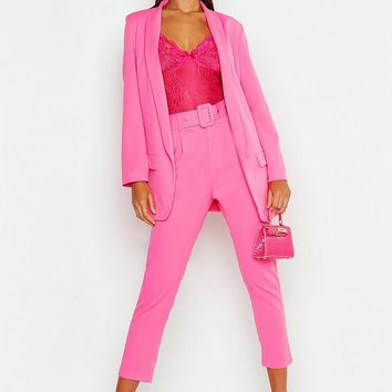 Self Belt Tailored Trouser | Boohoo