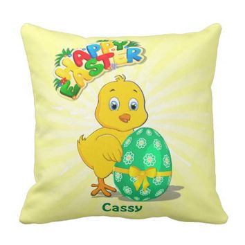Little Easter Chicken Cartoon Throw Pillow