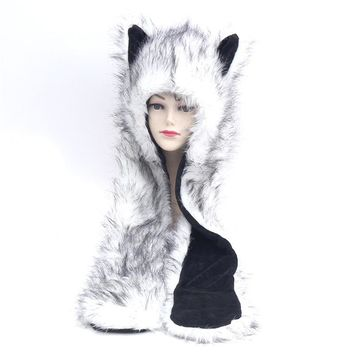 HONGZUO Brand 2017 Winter New Arrival White Fox Hooded Animal Cute Faux Cosplay Fur Cap Hat Scarf, Hat & Glove Sets PC207