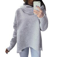 New Women Casual Sweatershirt Shrink Cowl Neck Long Sleeve Loose Sweatshirt Hoodies Pullover Top for Women Ladies Girls