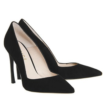 Office Affluent Curved Heel Point Courts Black Suede - High Heels