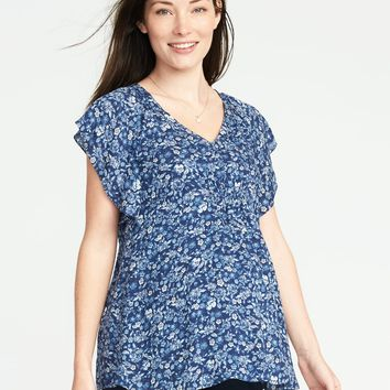 Maternity Flutter-Sleeve Top | Old Navy